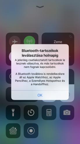 Bluetooth-tartozékok leválasztása holnapig. A jelenleg csatlakoztatott tartozékok le lesznek választva, és más tartozékok nem fognak kapcsolódni. A Bluetooth továbbra is rendelkezésre áll az Apple Watchhoz, az Apple Pencilhez, a Személyes Hotspothoz és a Handoffhoz.