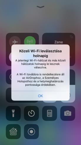 Közeli Wi-Fi leválasztása holnapig. A jelenlegi Wi-Fi-hálózat és más közeli hálózatok holnapig le lesznek választva. A Wi-Fi továbbra is rendelkezésre áll az AirDrophoz, a Személyes Hotspothoz és a helymeghatározás pontossága érdekében.