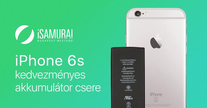 iSamurai – iPhone 6s kedvezményes akkumulátor csere