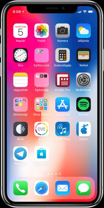 %-os akkumulátor kijelzés az iPhone X-en