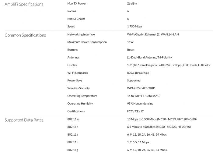 AmpliFi HD router technikai adatok