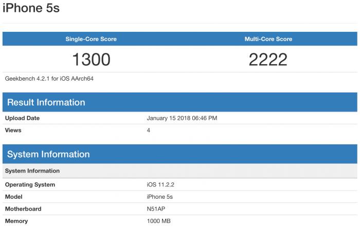 Geekbench teszt egy iPhone 5s-en a 11.2.2-n: single-core eredmény 1300, multi-core eredmény 2222.