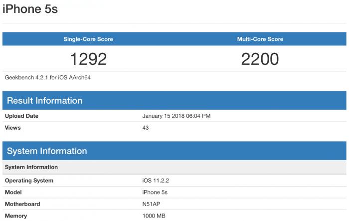 Geekbench teszt egy iPhone 5s-en a 11.2.2-n: single-core eredmény 1292, multi-core eredmény 2200.