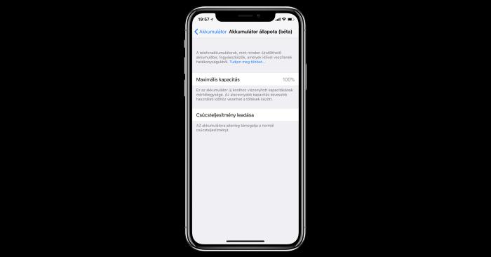 iPhone akkumulator kijelzes