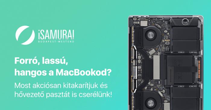 Forrú, lassú, hangos a MacBookod? Most kedvezményes kitakarítjuk és hővezető pasztát is cserélünk!