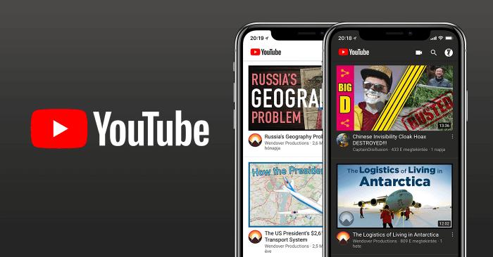 Dark Mode-ot kapott a Youtube alkalmazás