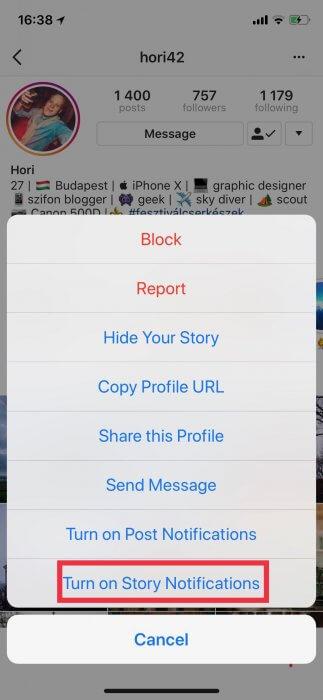 Instagram Stories értesítés