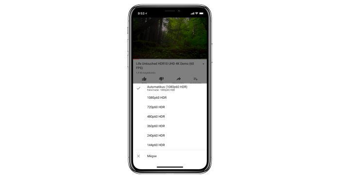 YouTube HDR lejátszás - iPhone X