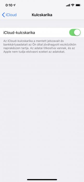 iOS Kulcskarika