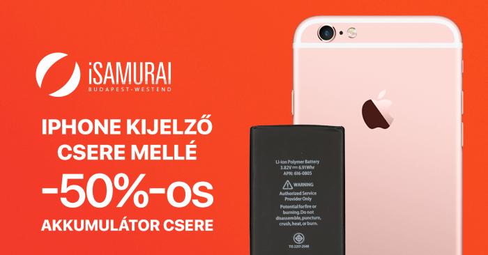 iSamurai – iPhone kijelző csere mellé -50%-os akkumulátor csere