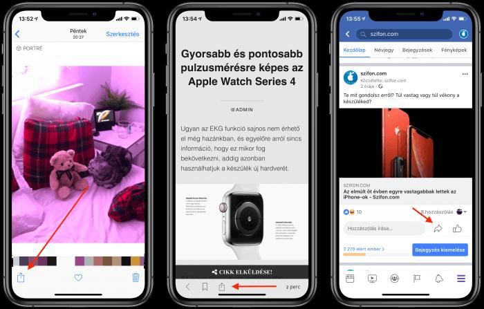 Megosztás az iOS-en
