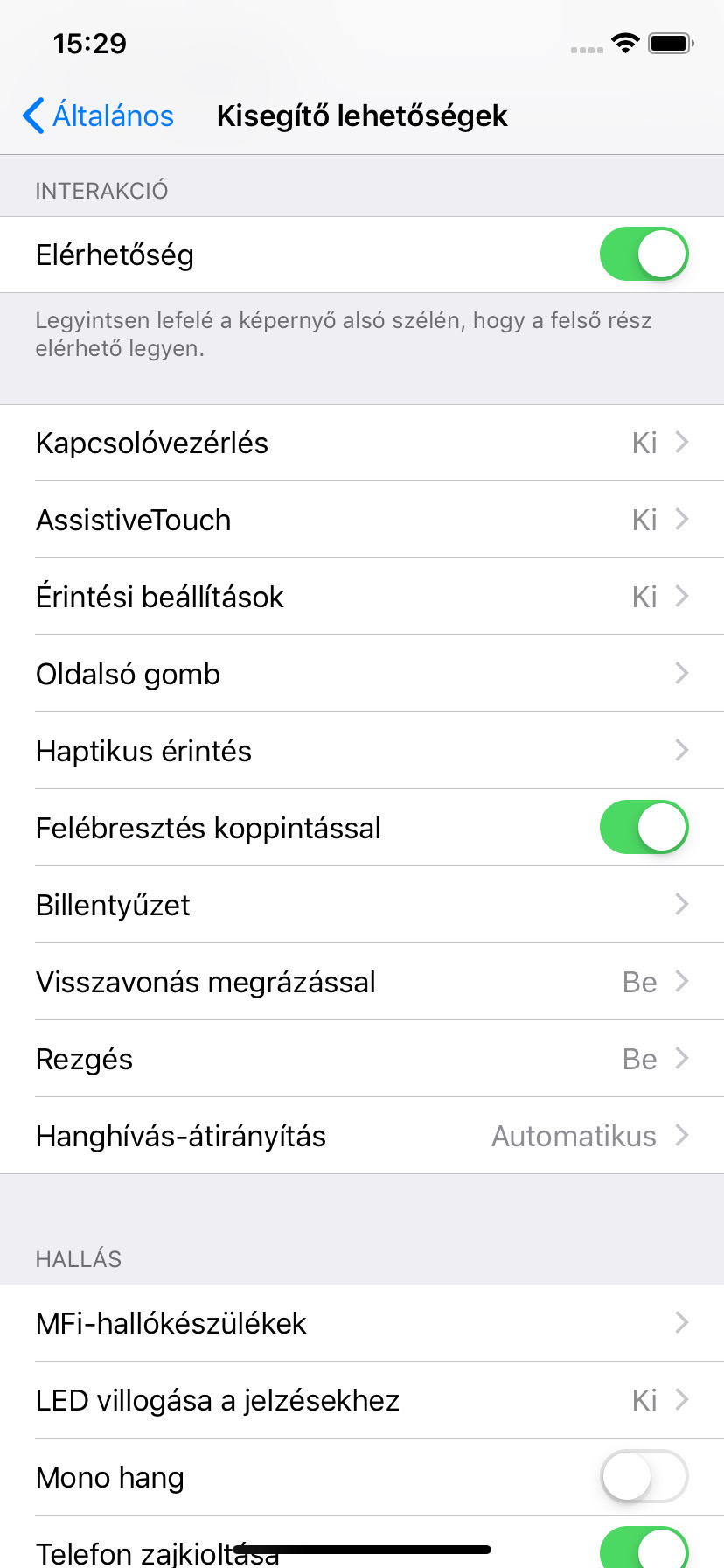 Az érintési beállítások módosítása az iPod touchon