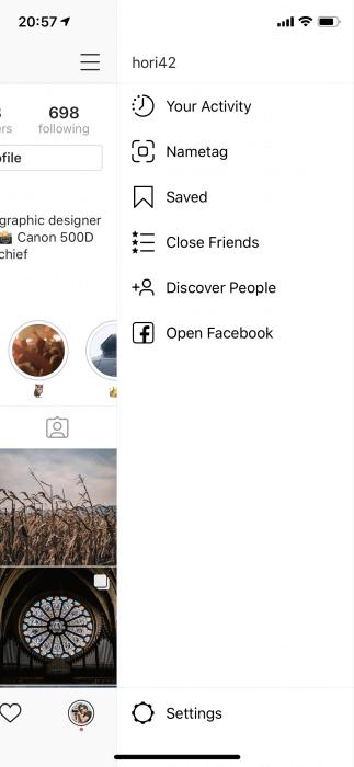 Instram Stories- közeli barátok listája képernyőfotó