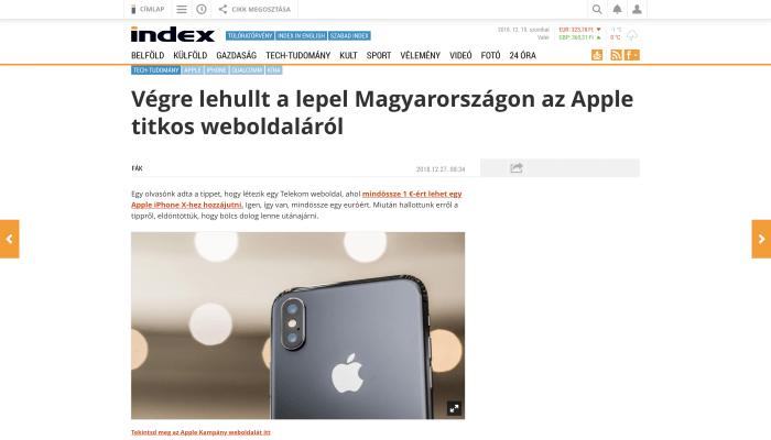 """Kamu Index cikk, headline: """"Végre lehullt a lepel Magyarországon az Apple titkos weboldaláról"""""""