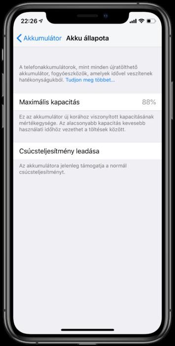 iOS 12 akkumulátor menüpont