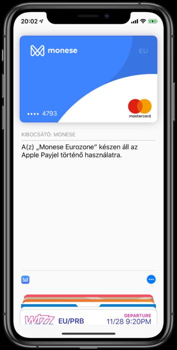 Monese Apple Pay kártya Magyarország