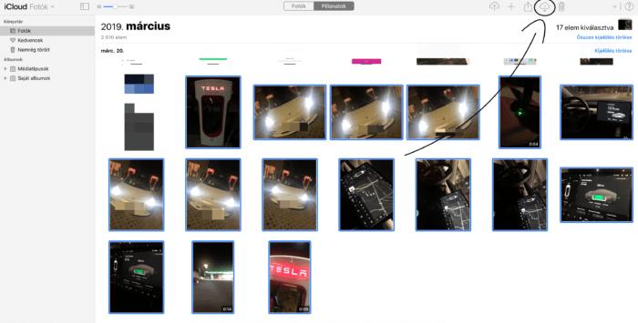 iCloud.com fotók, videók letöltése