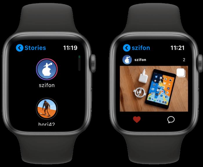 Instagram alkalmazás Apple Watch-ra