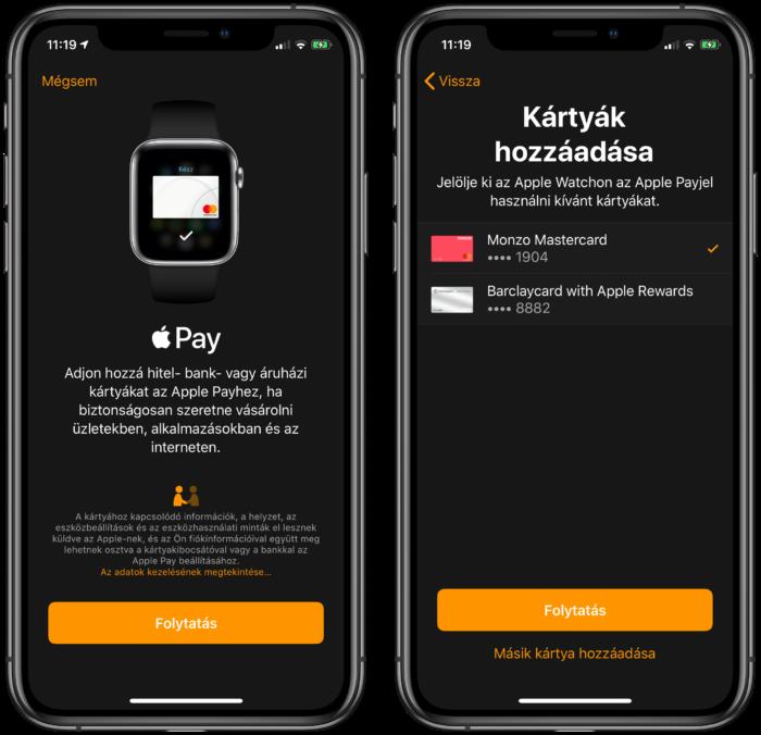 Apple Pay hozzáadása Apple Watch-on