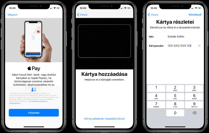 Apple Pay hozzáadása iPhone-on