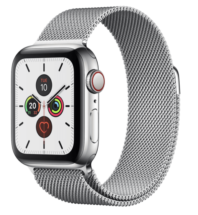 Apple Watch Series 5 rozsdamentes acél milanese loop szíjjal