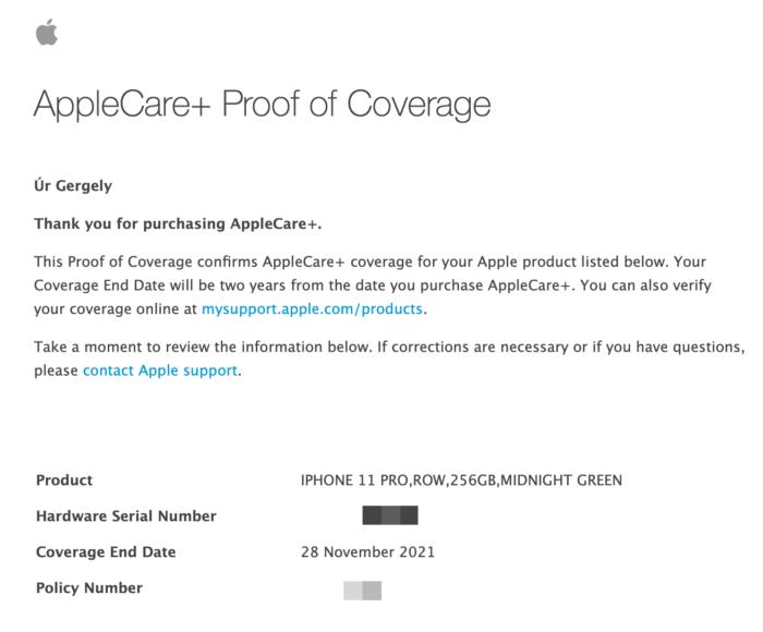 AppleCare+ iPhone 11 Pro