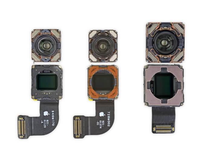 Az iPhone SE 2020, iPhone 8 és iPhone XR kameramoduljai darabokban