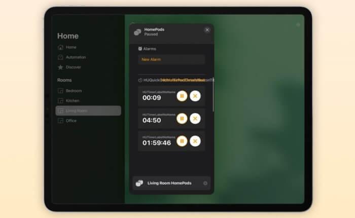 HomePod időzítő Home app (9to5mac)