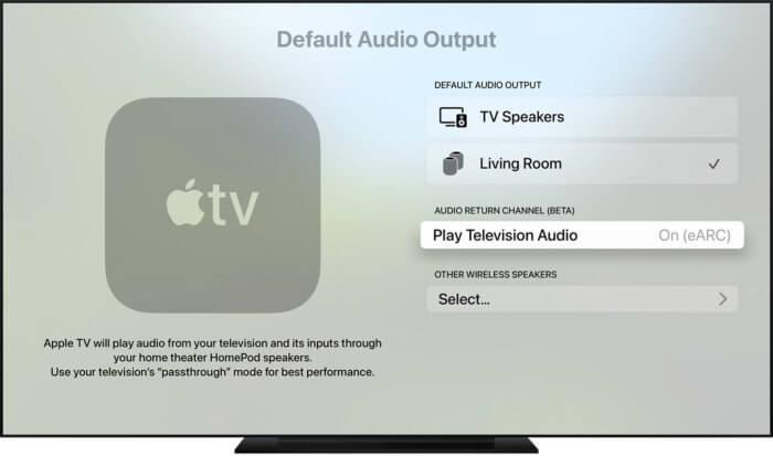 AppleTV4K-val HomePod beállítása default audio output-ként